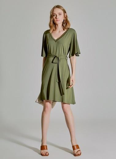 People By Fabrika Yakası Detaylı Bağlamalı Elbise Haki